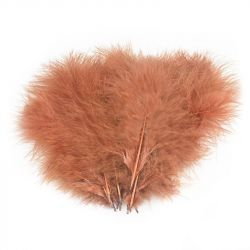 Перо Veniard Turkey Marabou Large selected dyed single colour (Fiery Brown)