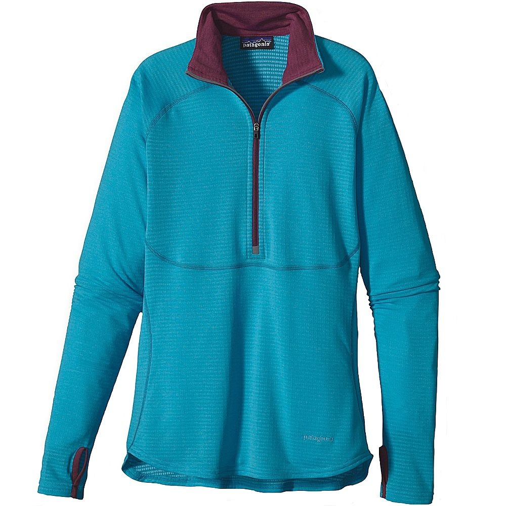 Футболка Patagonia Capilene 4 Expedition Weight Zip Neck w's (L, Curacao-Sky Blue X-Dye)