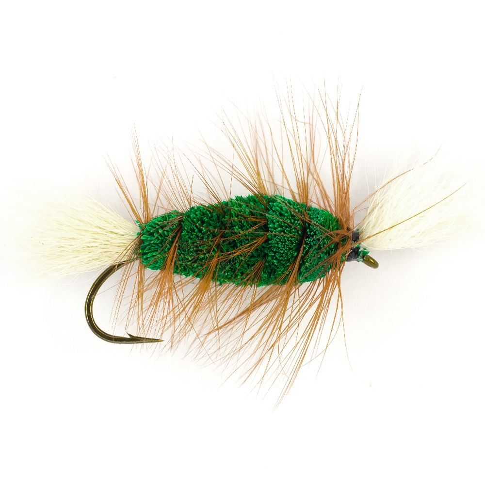Мушка SF Green-White Tail-Brown Hackle Cigar Bomber (#6 (Bronze/Partridge CS42))